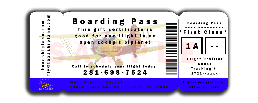 Houston flights Texas Biplane boarding pass